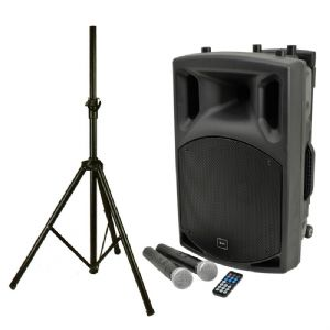 QTX QX12PA Battery + Mains Portable Bluetooth PA Speaker + 2 Radio Mics + Stand